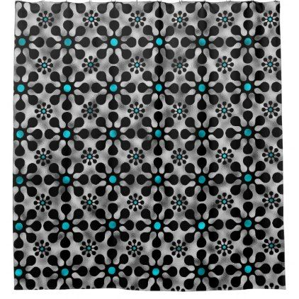 Shine Blossoms Light Blue Shower Curtain - black gifts unique cool diy customize personalize