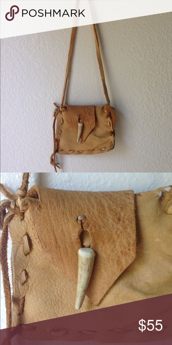 Buckskin leather handmade bag with antler button Soft buckskin leather bag with a deer antler button. Bags Satchels