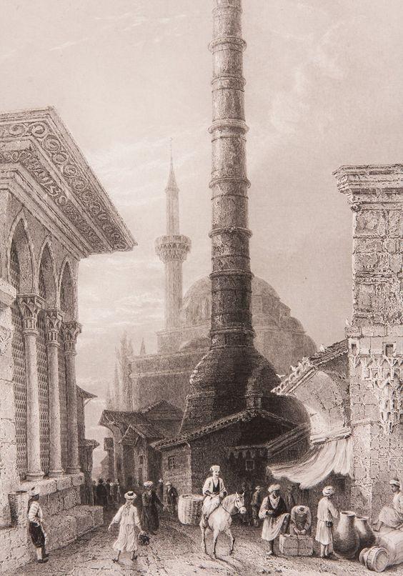"""İstanbul Çemberlitaş Sütunu Gravür-William Henry Bartlett tarafından çizilmiş, Miss Julia Pardoe'nin 1838 yılında Londra'da basılan """"The Beauties of the Bosphorus"""" adlı meşhur seyahatnamesi nde yer almış orjinal çelikbaskı gravür. Bu seyahatname Osmanlı gündelik yaşamı ve İstanbul güzelliklerini anlatmakta olup 19. yüzyıl Avrupası'nın en çok ilgi çeken kitaplarından biri olmuştur. Çemberlitaş Sütunu, Roma İmparatoru I. Constantinus tarafından M.S 324 yılında imparatorluğun merkezini…"""