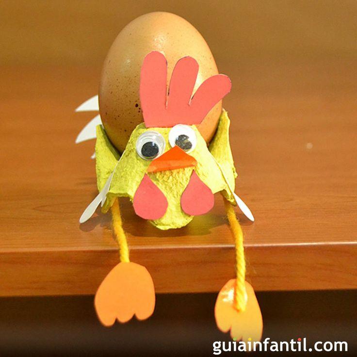 Gallo porta-huevos. Manualidad de reciclaje para niños