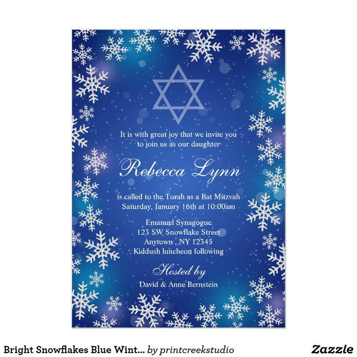Bright Snowflakes Blue Winter Bat Mitzvah Card