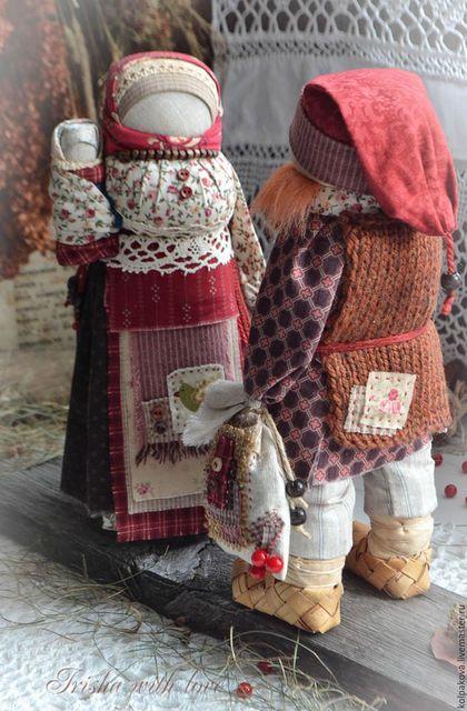 "Народные куклы ручной работы. кукла-оберег Архангелогородская парочка ""Калинушка"".. Ириша Колпакова Irisha with love. Ярмарка Мастеров."