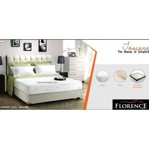 Florence TOSCANA Latex Spring Bed      Latex Collection Series     tebal/tinggi kasur : 27 cm     Sandaran : Basillica Beige tinggi 130 cm     Divan : 24 cm     Comfort Level : Medium http://klikfurniture.com/florence-spring-bed/2868-florence-toscana-latex-spring-bed.html
