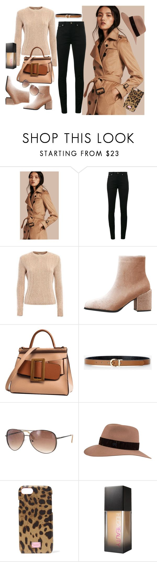 """conjunto492"" by lauracabrera-2 ❤ liked on Polyvore featuring Burberry, Yves Saint Laurent, MaxMara, Express, Kay Unger New York, Maison Michel, Dolce&Gabbana and Huda Beauty"