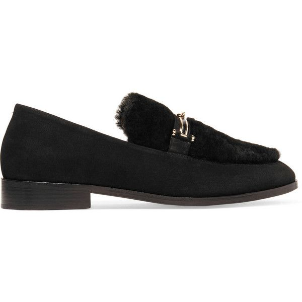 NewbarK Melanie shearling-paneled nubuck loafers (¥66,760) ❤ liked on Polyvore featuring shoes, loafers, black, slip on shoes, black slip on shoes, nubuck shoes, black loafers and black evening shoes