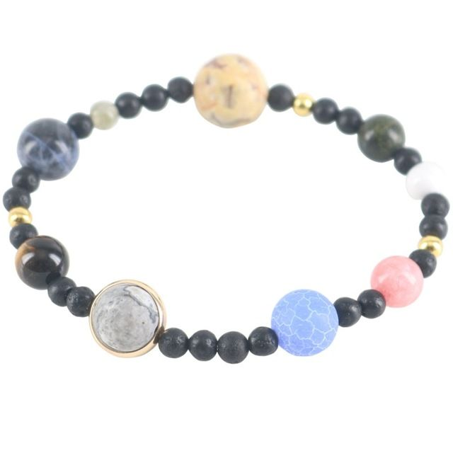 Discount Today $6.20, Buy Universe Charm Bracelets Galaxy Planets In The Solar System Guardian Women Stars Natural Stones Beaded Bracelets & Bangles