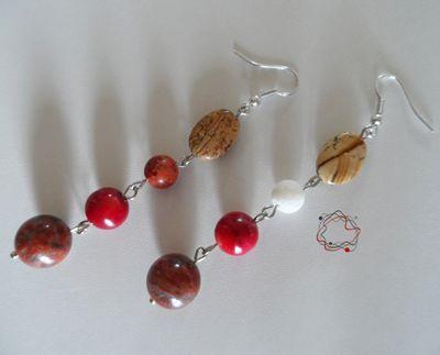 Coral , Jade & Garnet Earrings