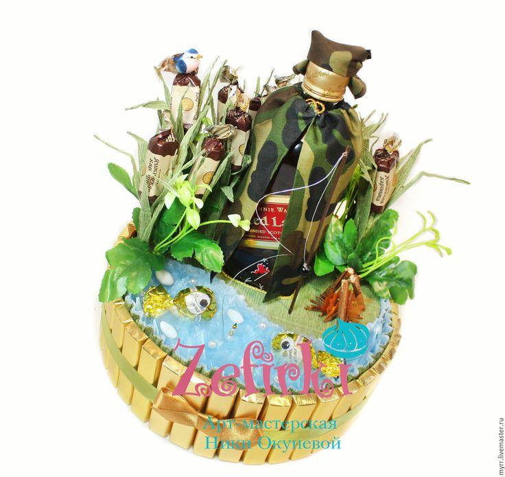 Купить Подарок рыбаку торт из конфет Подарок мужчине на 23 февраля мужу - золотой, мужчине