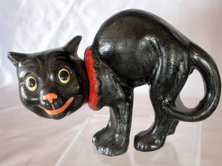 german composition black cat candy container ebay - German Halloween Decorations
