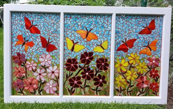 Stained Glass Flowers and Butterflies Mosaic on Reclaimed Window
