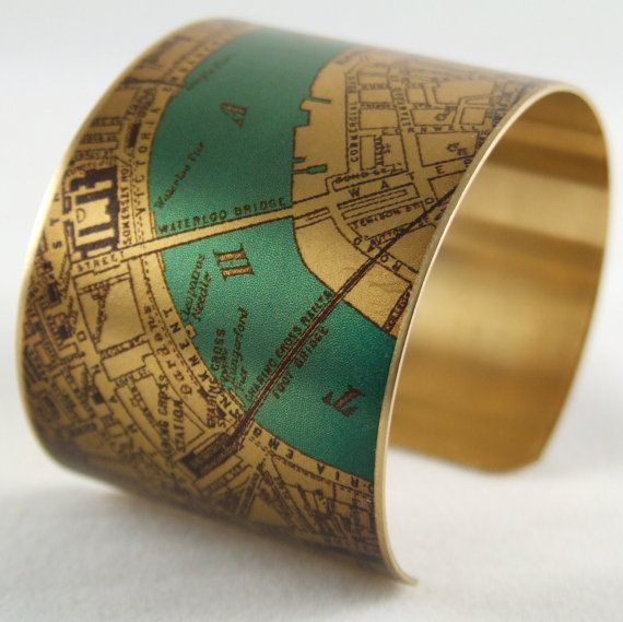 London Map Jewelry - Antique Street Map with the River Thames and London Bridge - Brass Cuff Bracelet on Etsy, $40.00