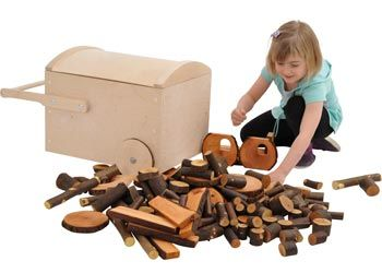 Tree Blocks with Wooden Trolley. This super set of tree blocks is perfect for imaginative play. This set includes 144 sanded tree blocks plus a large, easy to roll wooden trolley.