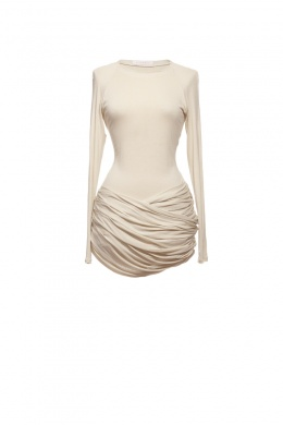 Annaeva Mini Dress With Draped Bottom... you can wear it bunched up or unfold the bottom and wear it draped!