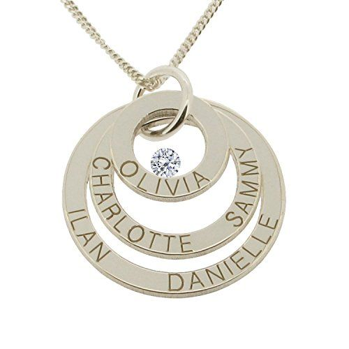 Personalised Silver Pendant Necklace - add a special message or your children's names, even co-ordinates of a special place #valentines day gifts ideas for her for girlfriend