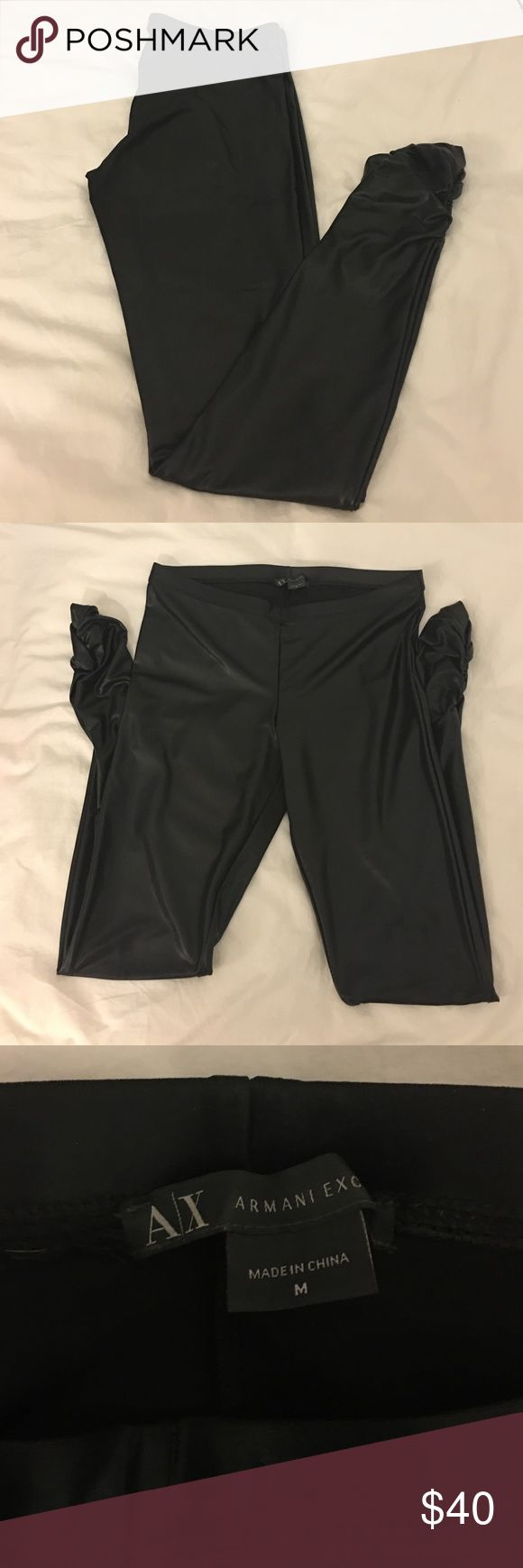 👑 A|X Armani Exchange Liquid Latex Leggings Gorgeous low rise with ruched ankles.  Worn once.  Upgraded to real leather pair. Armani Exchange Pants Leggings
