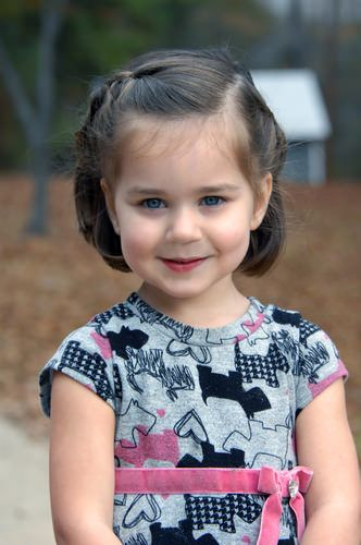 Adorable Little Girl with Side Braid Hair Pulled Away from Face