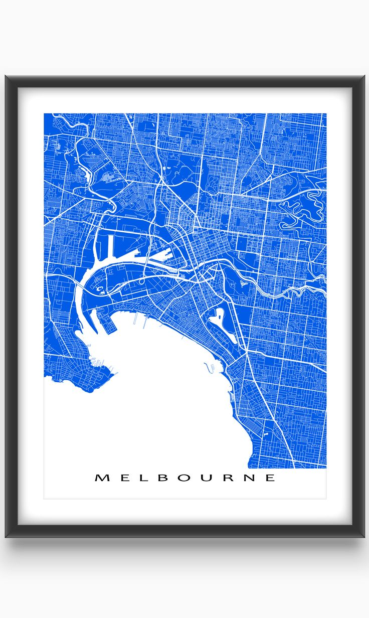 Melbourne, Victoria, #Australia  Modern, graphic and eye-catching. #Melbourne #map #print with a white street network design. Perfect for your #travel wall or to add to your existing home decor. #blue