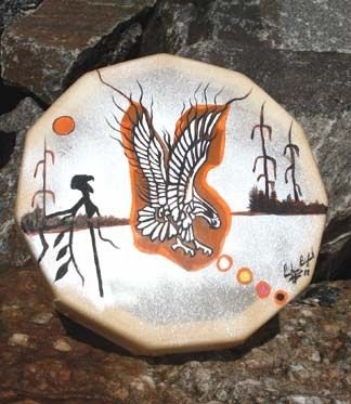 Hand-painted drum by Ojibway craftwoman Carolyn Pickford