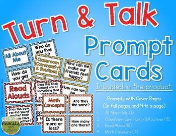 I wanted some prompt cards to have near me at my circle time area to help with making Turn and Talk part of our daily routine. This product includes both full page prompts and 4 to a page.