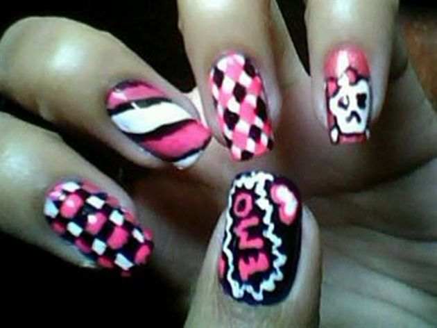 Nail art from the NAILS Magazine Nail Art Gallery, hand-painted, - 22 Best Nail Art Emo Style Images On Pinterest Ongles, Emo Nail