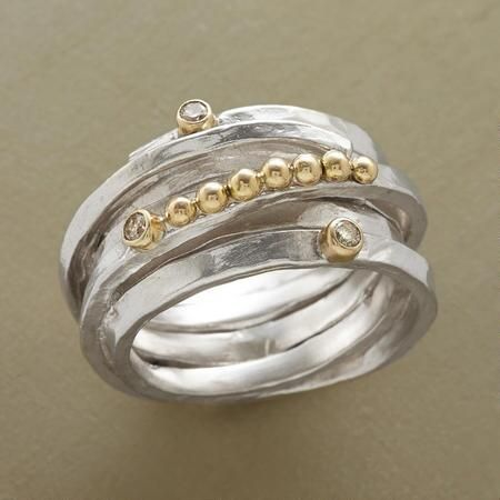 ROULEAU RING - Our hefty, handcast gemstone coil ring in sterling silver makes a dramatic setting for a parade of 14kt gold spheres and a sprinkling of diamonds in 14kt bezels.