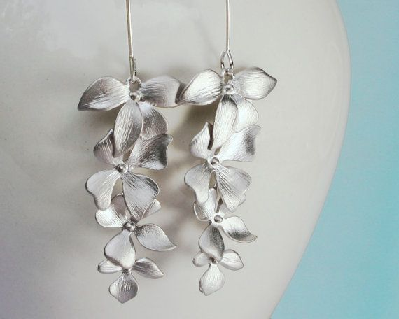 Wild Orchid flower cascade earrings in silver  four by GojoDesign, $19.99
