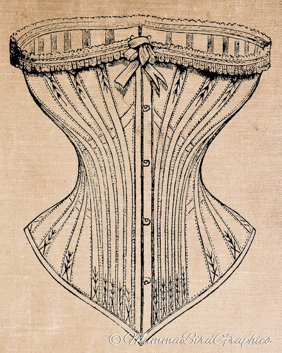 Vintage Corset / Women's / Underclothes / Underwear . This is a digital download image used for transferring to fabrics and paper.