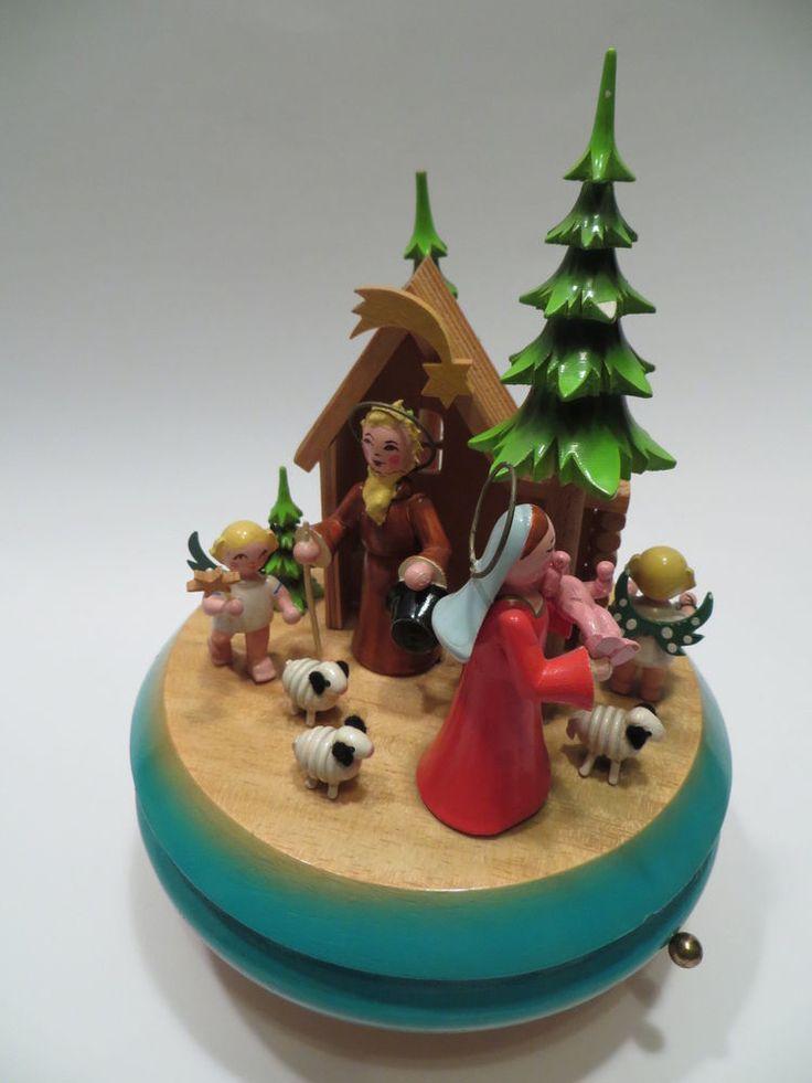 Vtg Germany Wood Nativity Christmas Music Box Rotates Plays Silent Night  | eBay