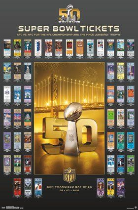 NFL Super Bowl 50 Historic Ticket Collection Poster
