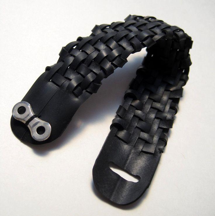 Woven Bike Tube Cuff - Twill Upcycled Bicycle Innertube Bracelet Black Charcoal Grey Jewelry