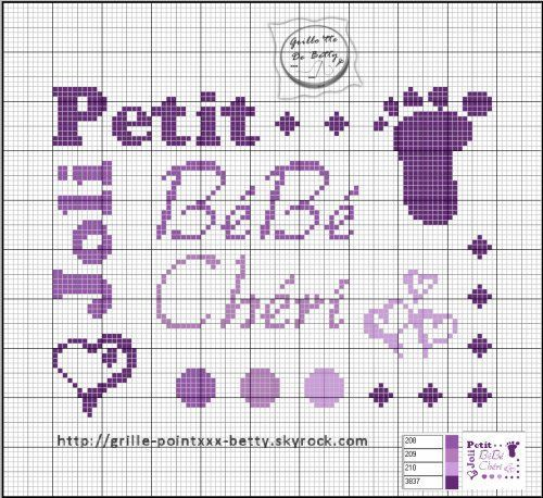 Bébé - baby - bébé chéri - point de croix - cross stitch - Blog : http://broderiemimie44.canalblog.com/: