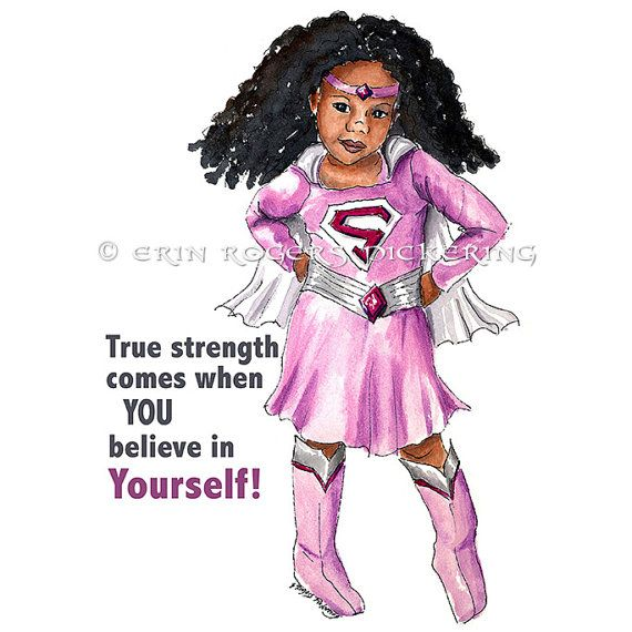 Superhero spin  True Strength African American Super Girl Print 8x10