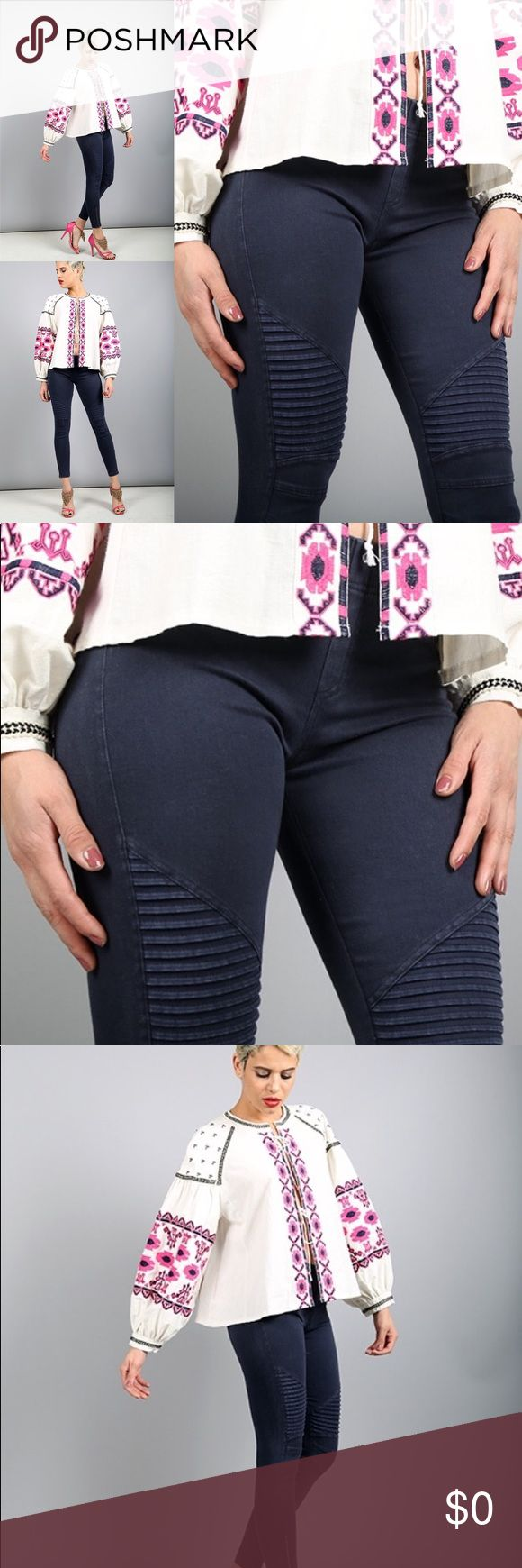 NEW ARRIVAL! Beulah Motto Jeggings (Black) Moto jeggings have ankle zipper detail and a thick elastic waistband. Great fit and good stretch with unique ribbed detail on the knee. Each color variation is different, as they are hand-dyed and each production is different. Please see last picture for the actual pant color.   97% COTTON, 3% SPANDEX Pants