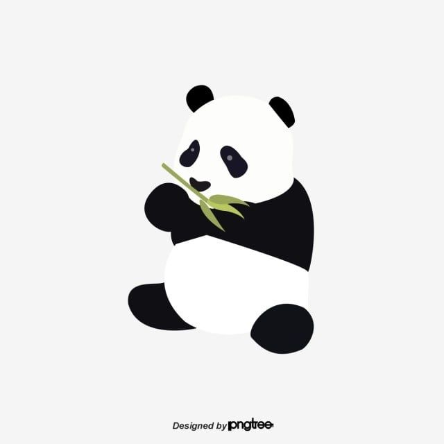 Vector Flat Black And White Giant Pandas Eat Bamboo Panda Clipart Clipart Panda Animal Png And Vector With Transparent Background For Free Download Panda Illustration Giant Panda Panda