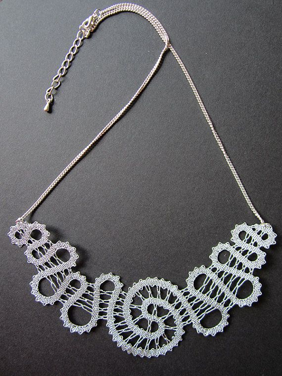Spiral Silver Spiral Lace Necklace Winter Silver Snow by A5lace
