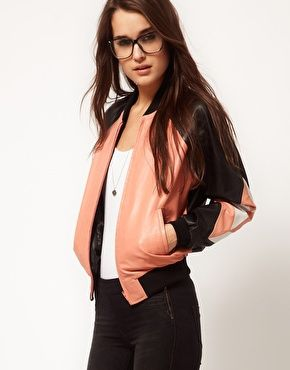 Enlarge ASOS Pieced Heart Leather Bomber Jacket - will never have too many leather jackets in my closet!