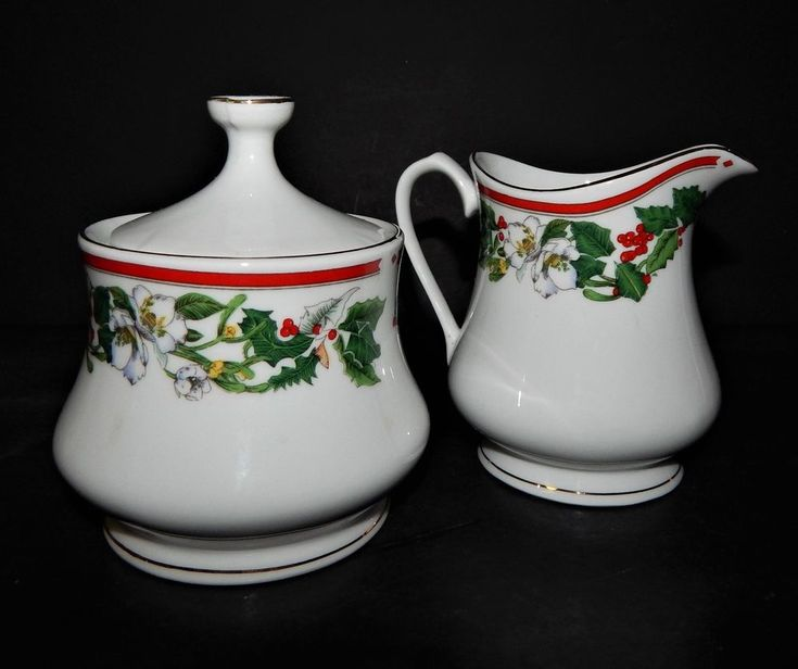 St Maria Lynns Fine China Creamer Sugar Bowl Christmas Holly & Berry Red Band #LynnsFineChina