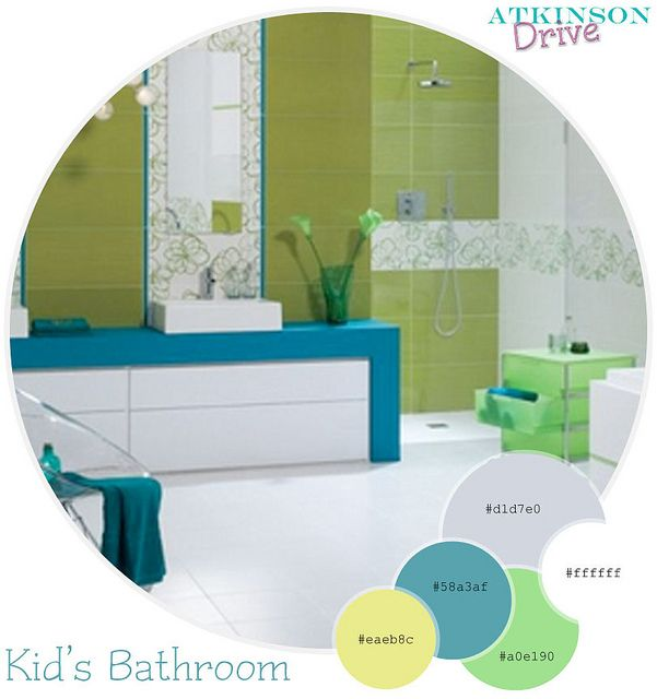 Color inspiration for a colorful, upbeat kid's bathroom. By Atkinson Drive     Take a look at our adorable bright kids room.