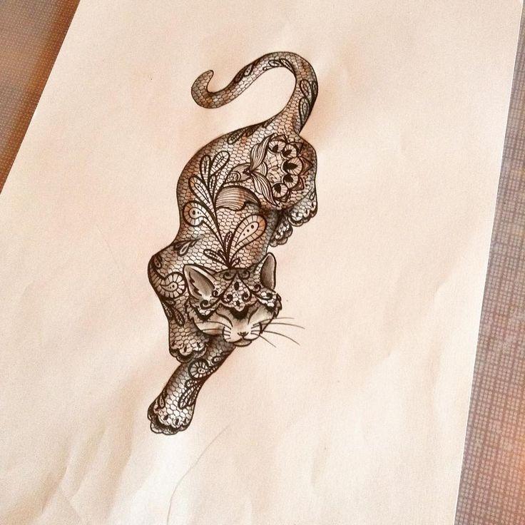lace cat tattoo - Google-Suche                                                                                                                                                                                 More