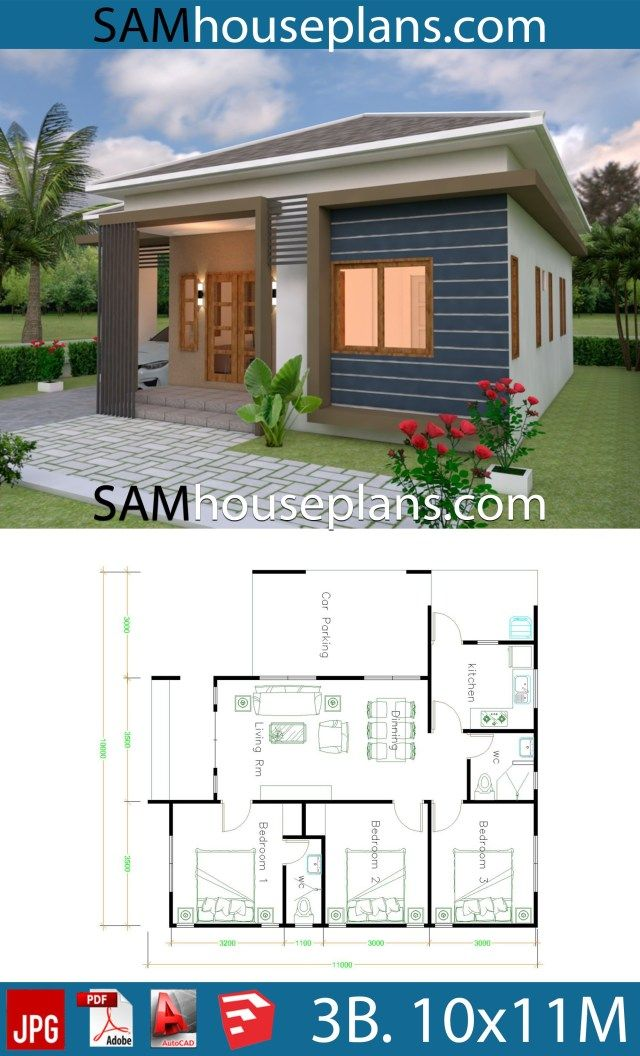 House Plans 10x11 With 3 Bedrooms Roof Tiles Sam House Plans Wooden House Plans Small House Design Plans House Plans Small wooden house design plan