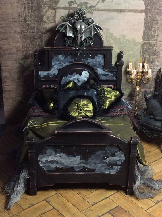 Doll House, Miniature, Miniature Bed, Doll Furniture, Halloween, Spooky, The Raven Bed