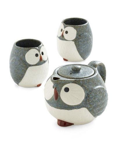 Owl Warm and Cozy Tea Set / ModCloth: Owl Warm, Tea Sets, Teas Time, Owl Teas, Teas Pots, Teas Sets, Cozy Teas, Owl Mugs, Teas Kettles