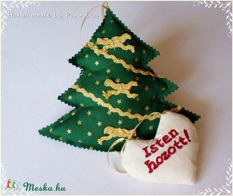 Karácsonyi fenyő ajtó-szobadísz (zöld fenyő) (pannika) - Meska.hu