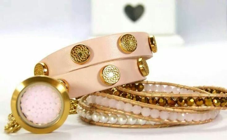 ♡this look? Get the look -Medium matte locket -Medium Rose Water Opal Swarovski Embellishment -Blush Signature Wrap w/gold studs -Coral, Rose Gold & Pearl Crystal Wrap   Visit my website www.southhilldesigns.com/izzydesgins to order.