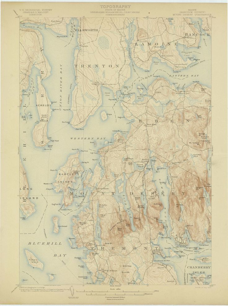 Mt Desert Island Maine Geographical Map