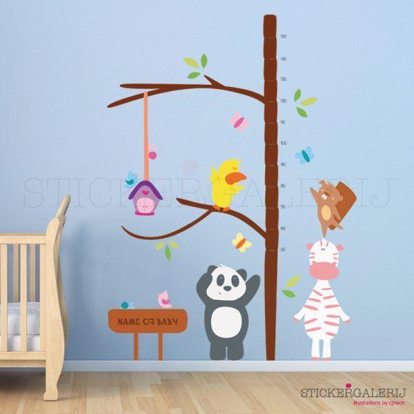 Muursticker babykamer met dieren groei meetlint #babykamer #wanddecoratie #inspiratie #kinderkamer #muursticker #wolkjes #baby #roze #blauw #groen #peuter #kwaliteit #design #uniek #nederland #zwanger #zwangerschap #pasgeboren #interieur #muur #wand #doehetzelf #diy #liefde #stickergalerij  Voor de volledige collectie kijk op: www.stickergalerij.nl