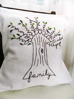 Personalized Family Tree Pillow Cover. White Linen with Shades of GREEN Leaves.