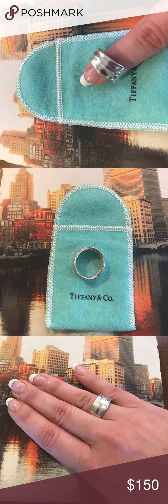 Authentic Tiffany & Company Sterling silver leaf Tiffany and Company 925 Collection sterling silver ring.  Leaf design.  Size 7. Comes with Tiffany and Company duster bag. Tiffany & Co. Jewelry Rings