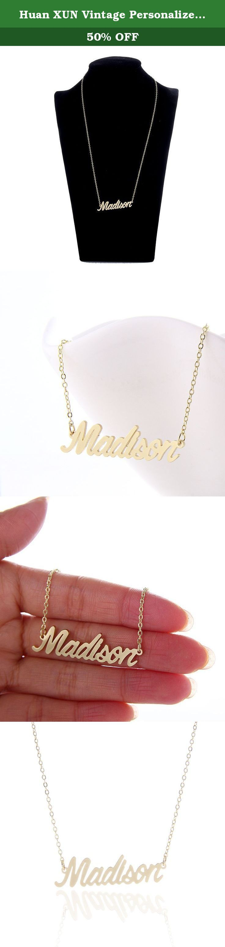 Huan XUN Vintage Personalized Calligraphy Name Necklaces Jewelry, Madison. 1.Material: stainless steel, 14 K gold plated . 2.Size: chain length=40.64cm=16inches, extention chain=5.08cm=2inches. 3.Standard shipping: 10-25 business days to US, 15-35 business days to other countries. 4.Expedited Shipping: 4-7 business days to US, 5-10 business days to other countries. .