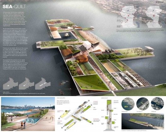 Transforming Seattle's 520 Floating Bridge Competition Winners. info layered over axon
